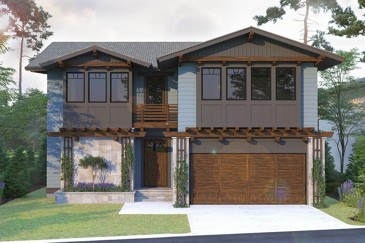 Plan 93115EL Contemporary Craftsman House Plan with Main