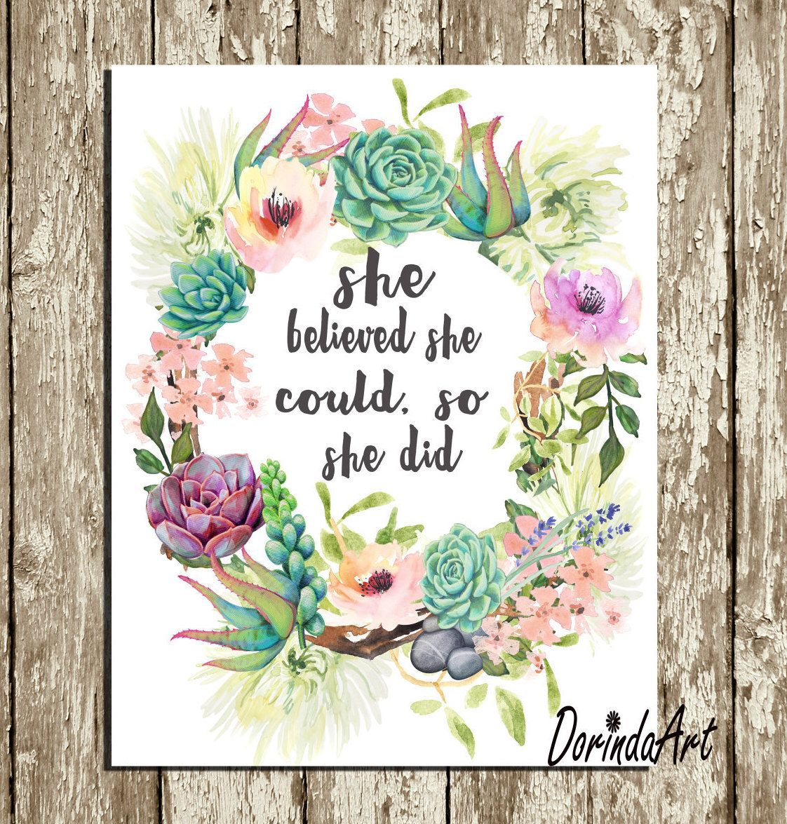 She Believed She Could So She Did Printable Floral
