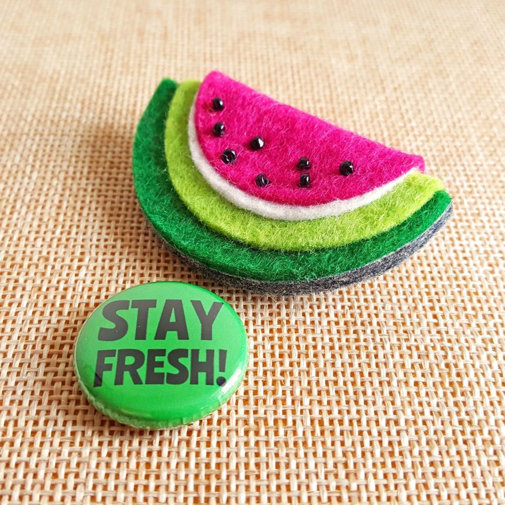 Watermelon Brooch Celebrate the last months of Summer with this fun and fruity handmade brooch…