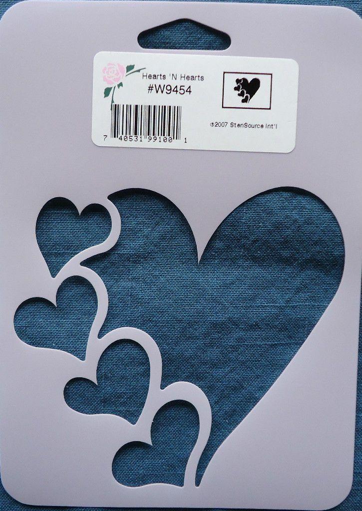 Stencil Hearts 'N Hearts Cards Scrapbook Crafts Paint Ink Color Emboss W9454 picclick.com