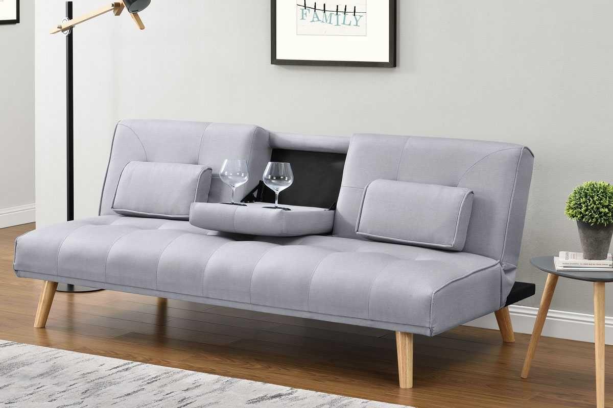 Light Grey Fabric Modern 2 3 Seater Click Clack Single Sofa Bed