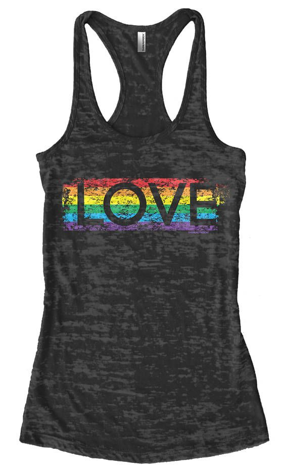 ef6eb4e037b155 Gay Pride Rainbow Love Women s Burnout Racerback Tank Top Proud LGBT Parade  Lesbian Bisexual Transge