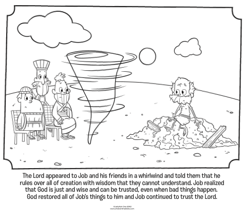 Kids Coloring Page From Whats In The Bible Featuring Job And Gods Visit A