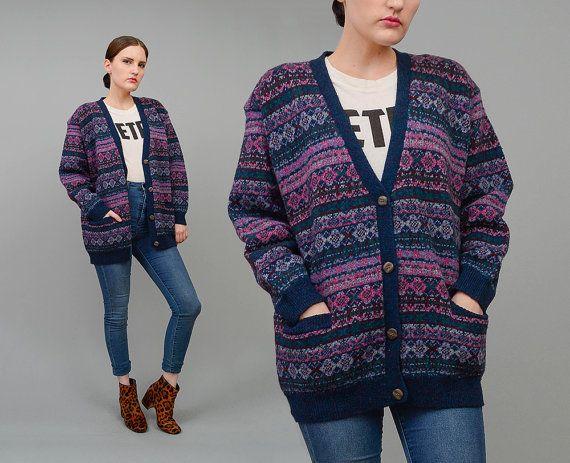 Vintage 90s Eddie Bauer Sweater Nordic Striped Wool Cardigan Fair ...