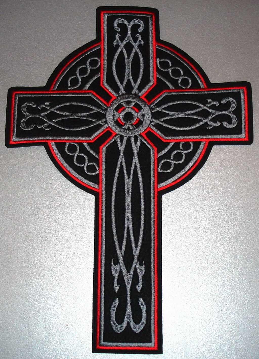 Cross Bikers Black Celtic Embroidered Iron On Badge Patch