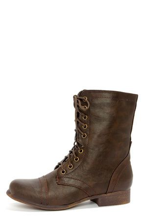 Brown Combat Boots For Girls - Cr Boot