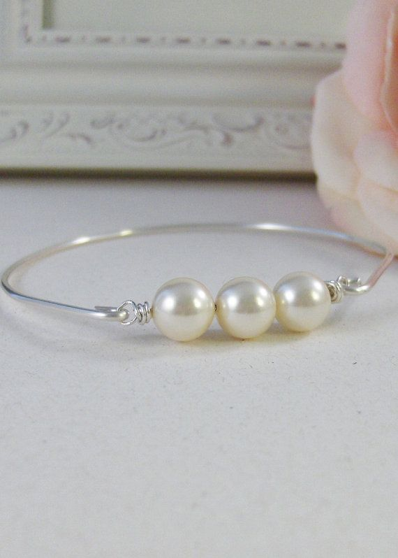 4a43b7a131323 Heirloom Pearls,Sterling,Pearl,Silver Bracelet,Ivory,Bangle,Wedding ...
