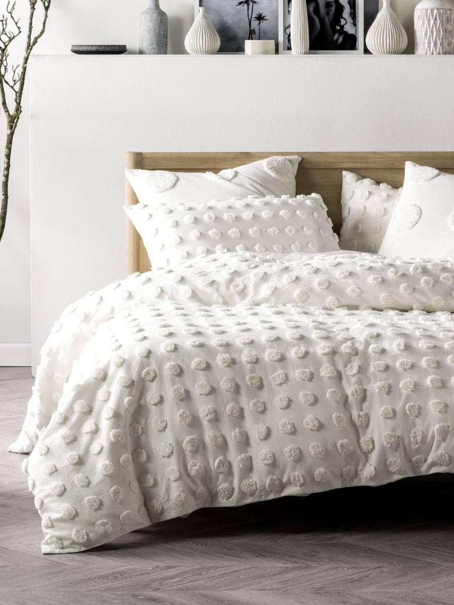 Modern quilt bedding - Haze White Quilt Cover Set Modern Chenille Contemporary Bedding Textured Bedding Boho