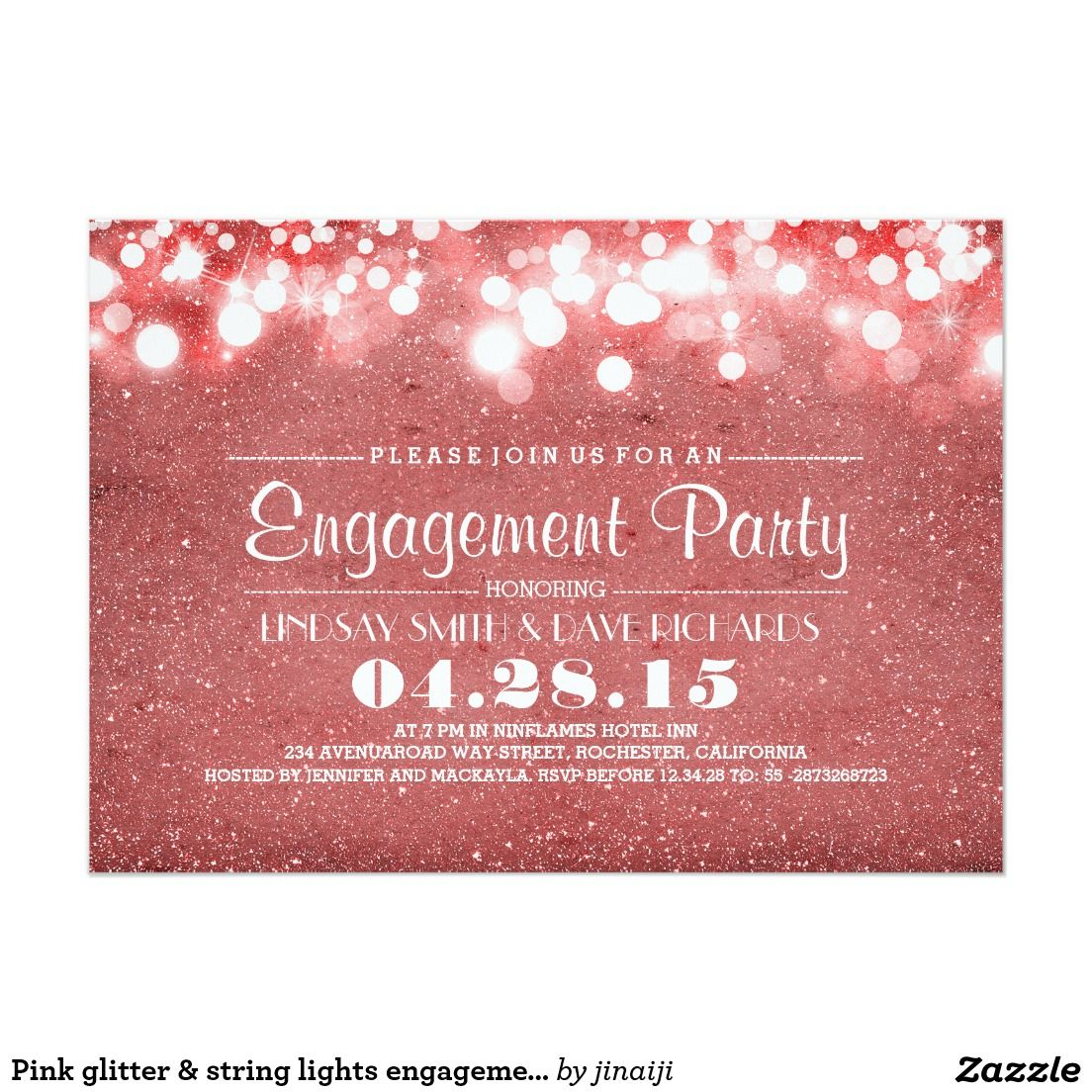 Pink glitter & string lights engagement party card | Wedding ...