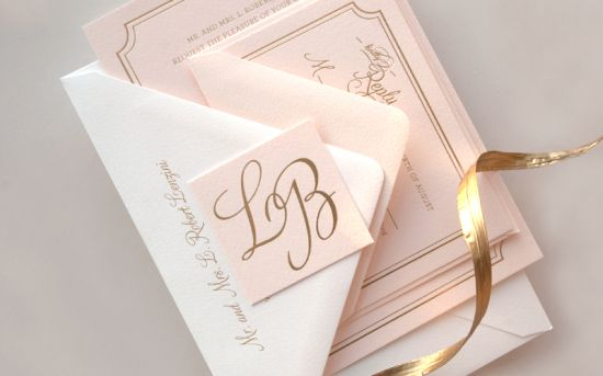 Lindsey + Bradleys Elegant Pink and Gold Foil Wedding Invitations