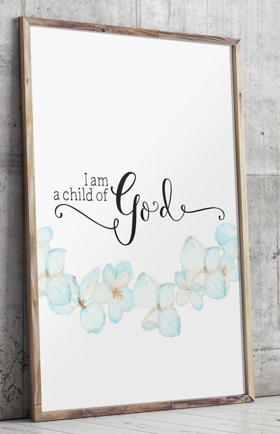 I Am A Child Of God Nursery Bible Verse Scripture Art Print Wall