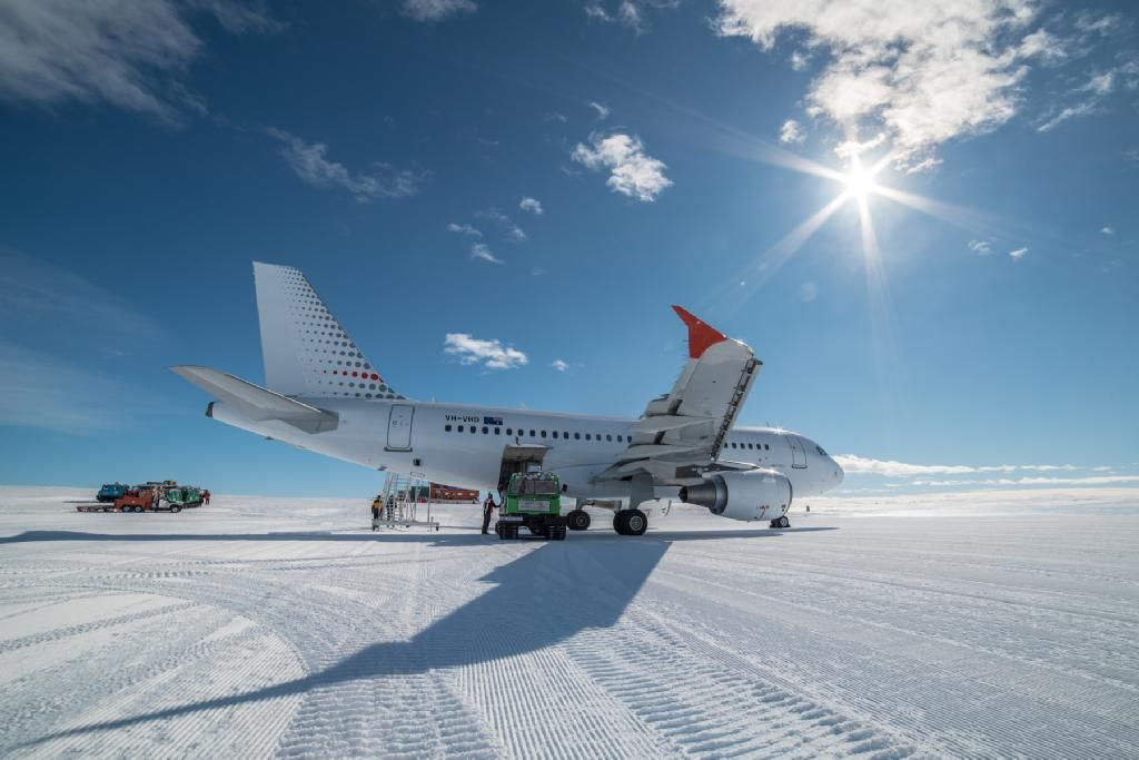 Skytraders flies into Antarctica. Skytraders' A319 aircraft flies from Hobart directly to Wilkins ice runway in a little over four hours. To help protect the unique and fragile Antarctic environment, the aircraft is equipped with specialist remote field functions such as onboard stairs to limit the ground support infrastructure required