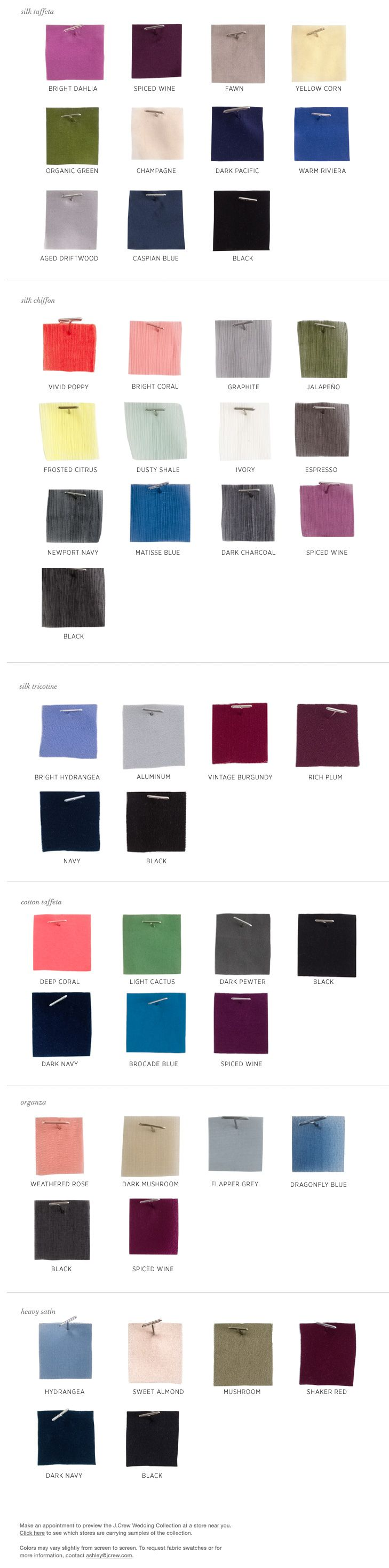 Jew color chart moh pinterest colour chart dusty from varying fabrics to changing seasons use the color swatches to find the perfect bridesmaid dress colors for your big day ombrellifo Image collections