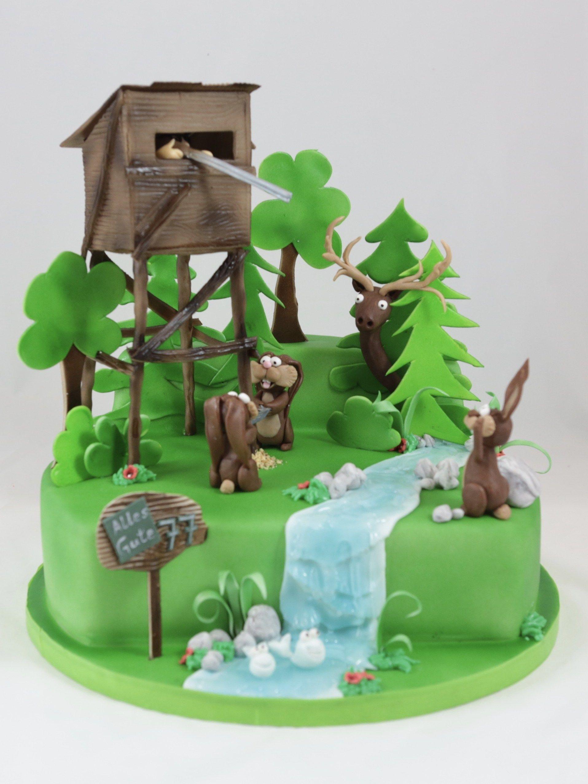 Jger Hunt Cake Torte Bunny Hase Hochstand  Motivtorten