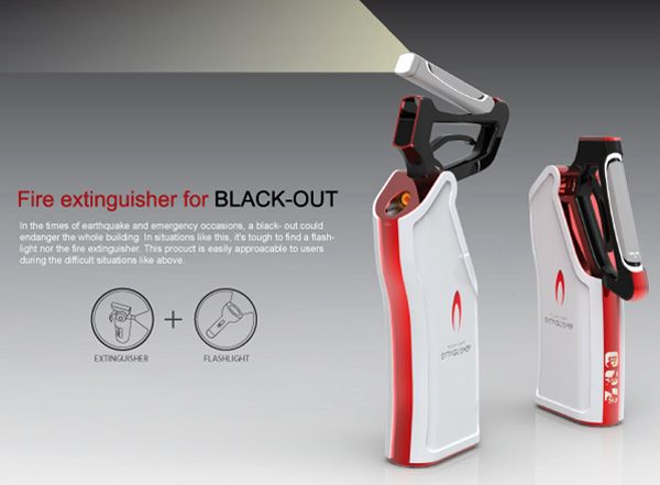 The Extinguisher For Black Out is a design that integrates a flashlight and fire  extinguisher into
