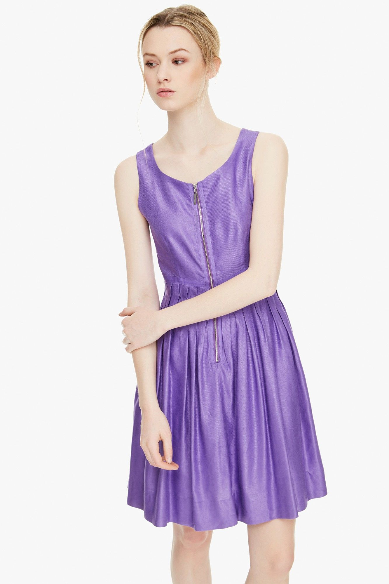 Vestido plisé con vuelo - Vestidos | Adolfo Dominguez shop online ...