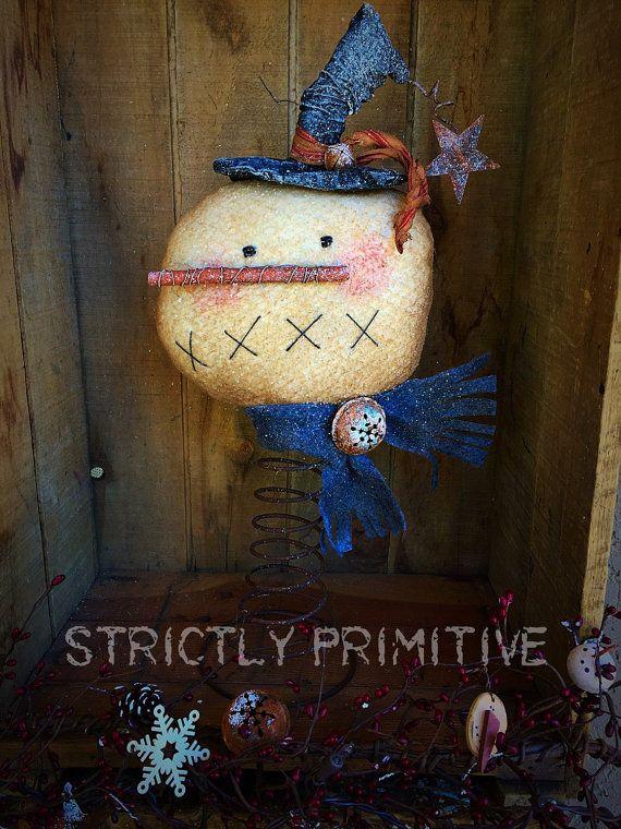 GORGEOUS primitive snowman head on an Antique by StrictlyPrimitive