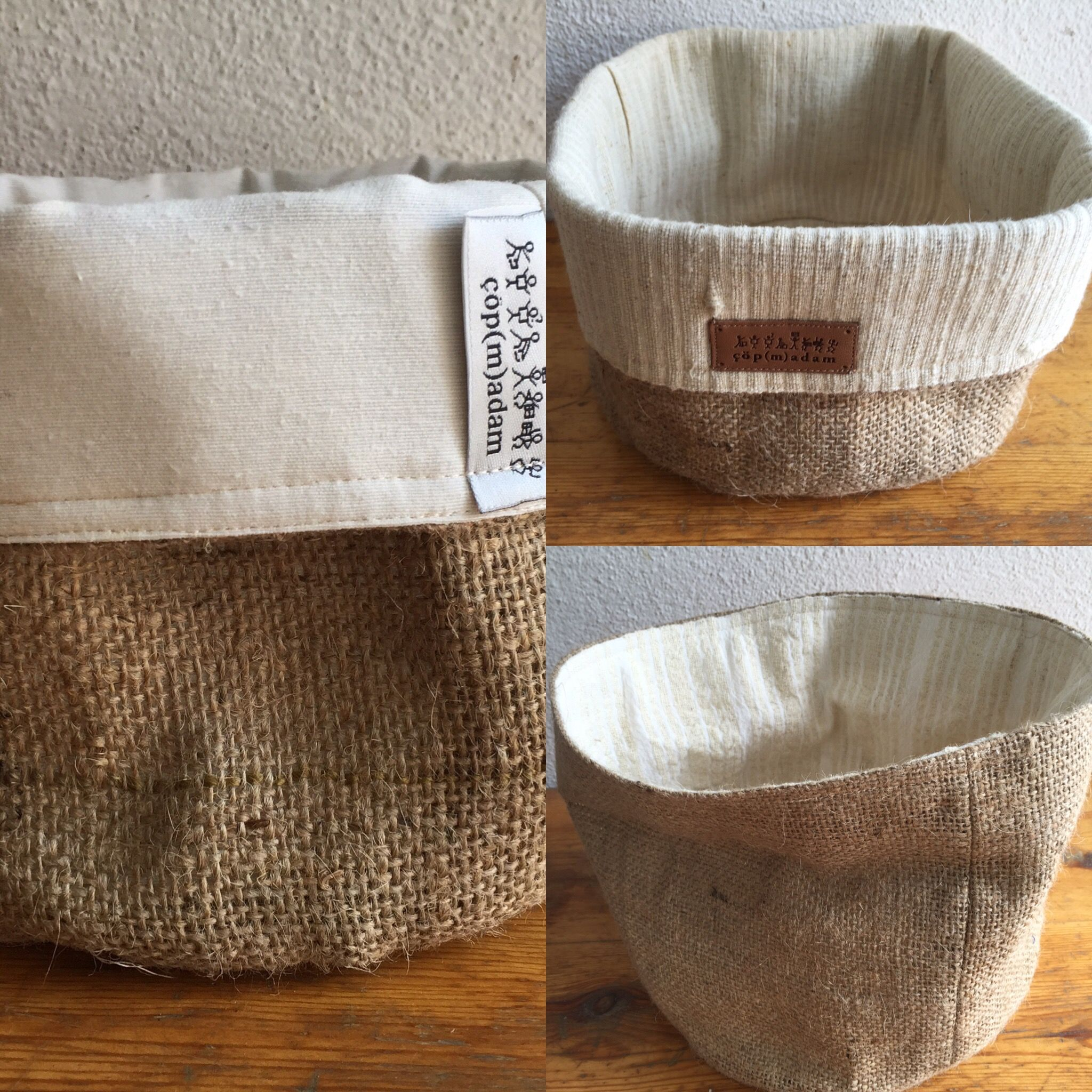 Coffee or olive burlap sacks with hand-loomed or grain sack or scrap fabric, 45tl/15 euros