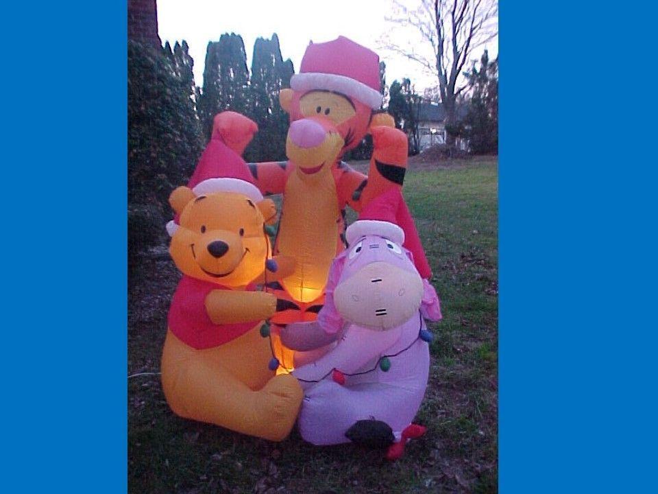 Disney Pooh Eeyore Tigger Christmas Airn Inflatable Yard Decor Light 6ft Box