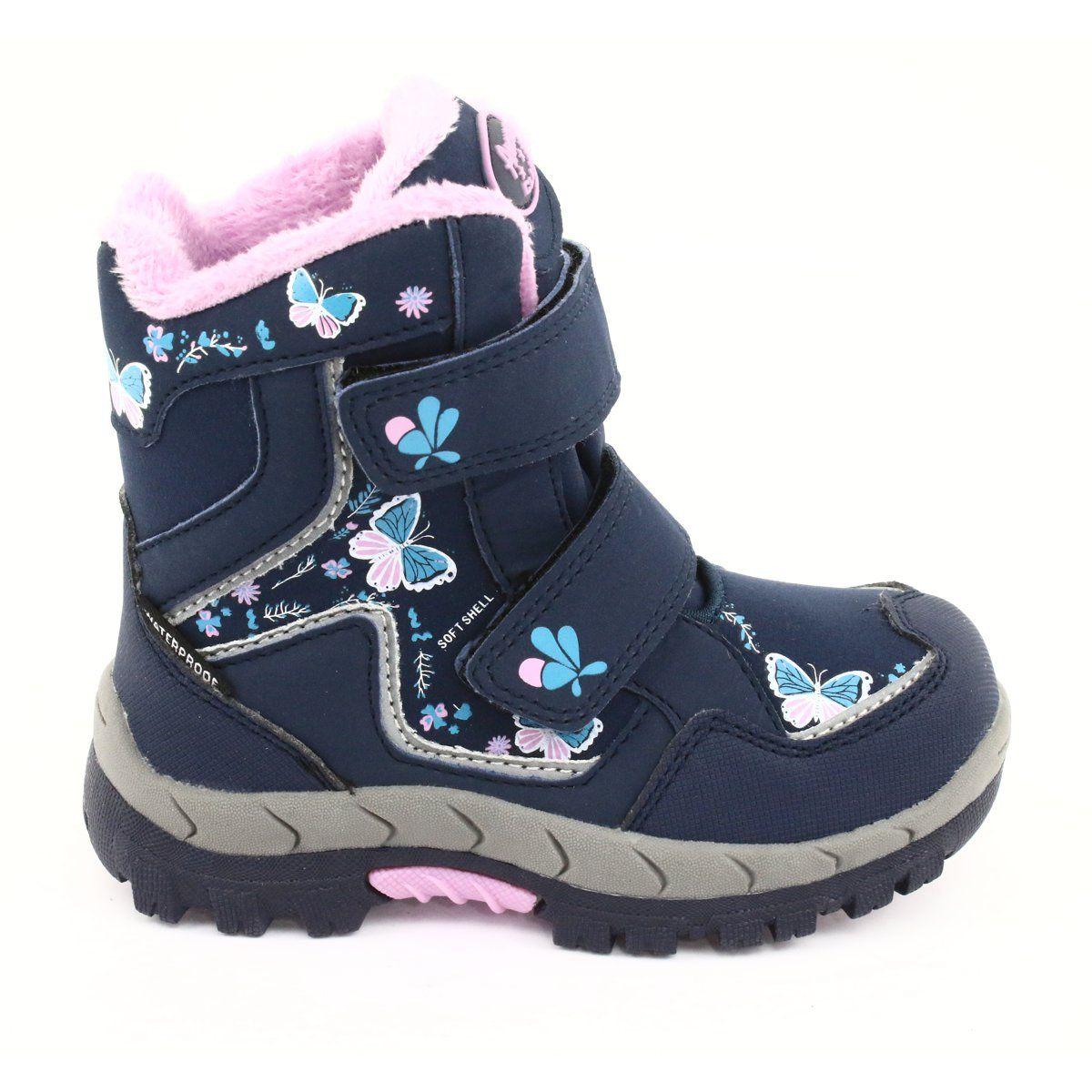 American Club Kozaki Z Membrana Hl28 Motyle Granatowe Niebieskie Rozowe Boots Childrens Boots Kid Shoes
