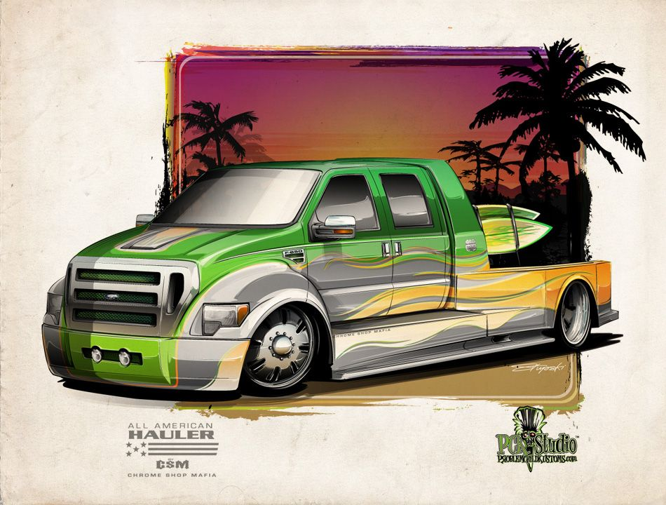 A Custom Hauler Bodied F 650 With A Little Surf Flare Drawing