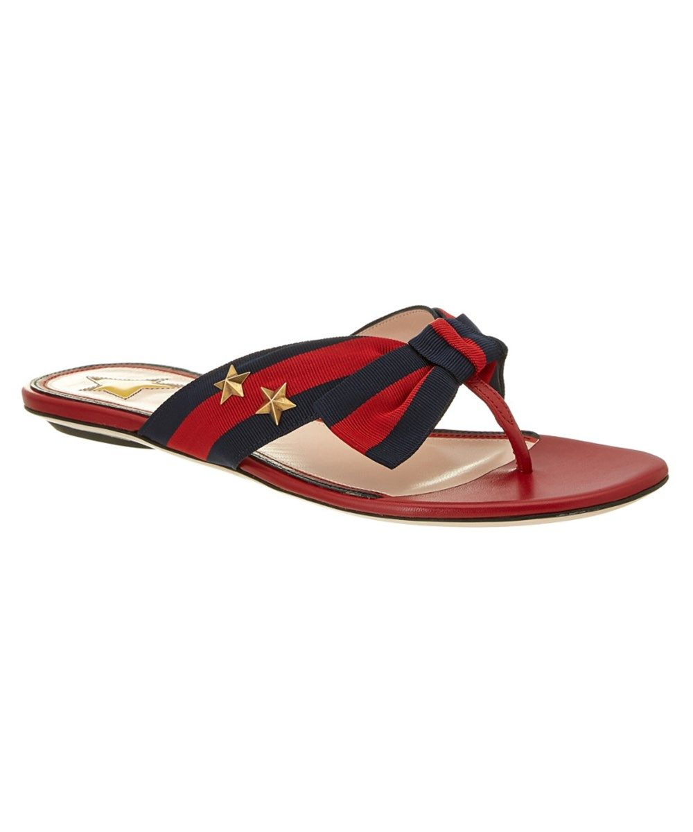 27eac5974dfa GUCCI Gucci Star Studded Grosgrain Web  Amp  Leather Thong Sandal .  gucci   shoes  sandals