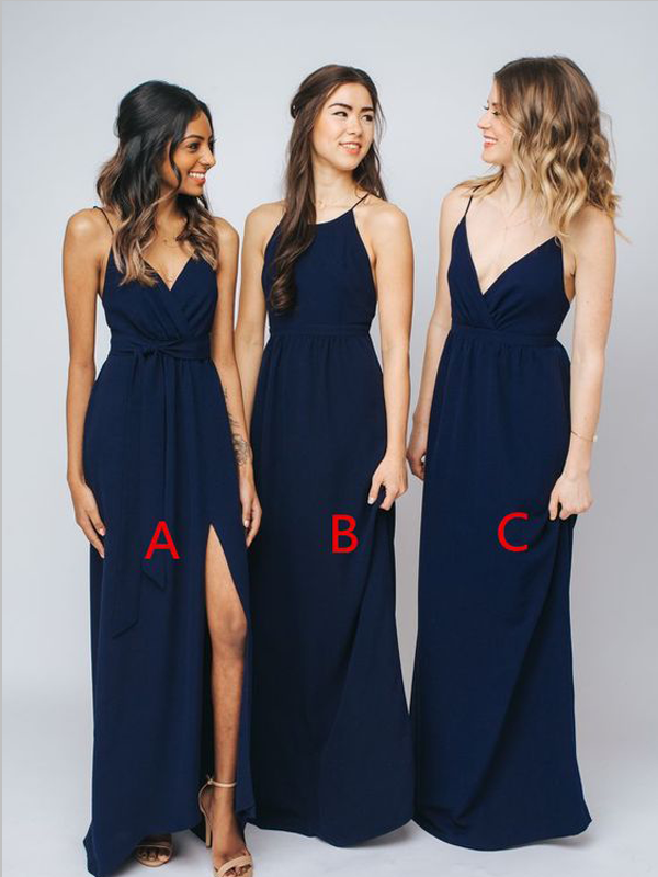 Mismatched Navy Blue Simple Floor Length Chiffon Long Bridesmaid Dresses Sw1039 Navy Blue Bridesmaid Dresses Mix Match Bridesmaids Dresses Bridesmaid Dresses