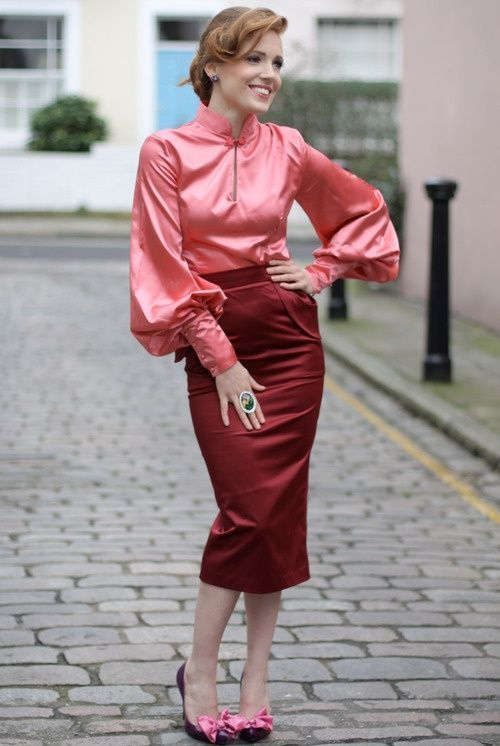 Pink Satin Blouse Red Satin Pencil Skirt and Matching High Heels ...