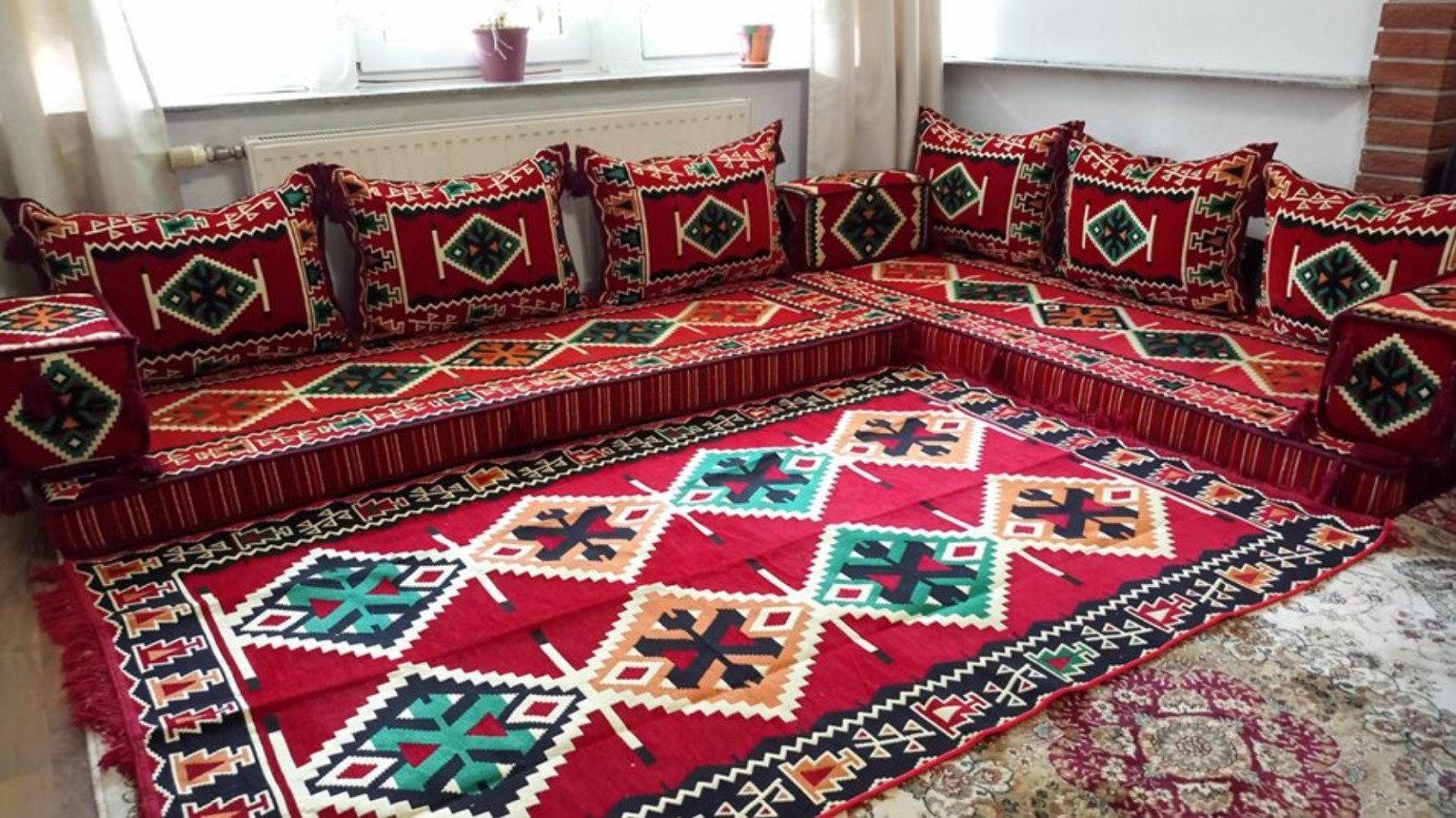 Livingroom Floor Sofa Big Majlis Sofa Oriental Arabic Floor Etsy In 2021 Floor Seating Living Room Floor Sofas Floor Pillows