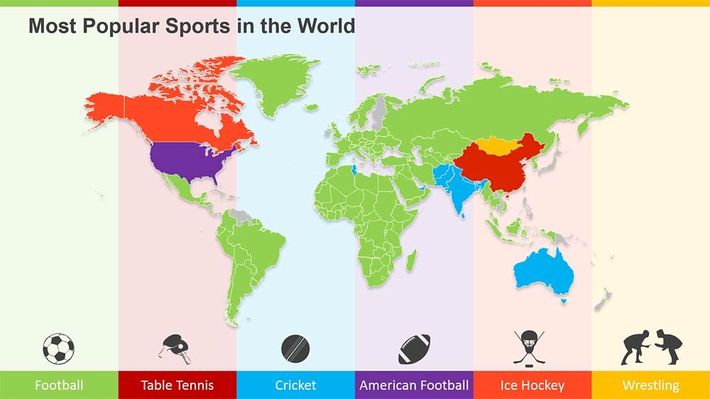 This is a map that shows what each countys favorite sport is most popular sports in the world on a powerpoint world map powerpoint design services presentation designers gumiabroncs Choice Image