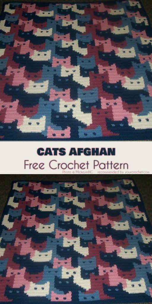 Cats Afghan Free Crochet Pattern | COJINES \