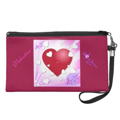 Valentine Hearts MoonDreams Music Wristlet #wristlet #handbag #hearts #moondreamsmusic #valentinesday #valentine #pink #red #zazzle #style #fashion #womens #sweetheart