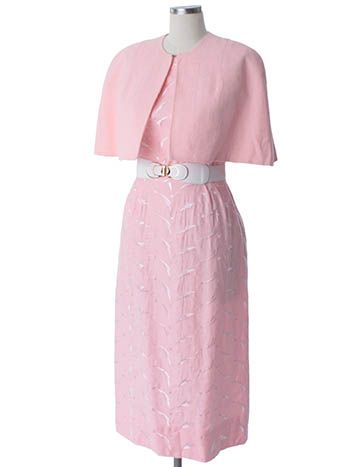 JUST IN! Vintage 1950's Pink Embroidered Sateen Pencil Dress and Capelet #wiggledress #50sdress #bluevelvetvintage