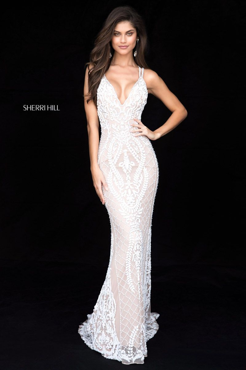 35c797d626d Check out the deal on Sherri Hill 51750 Beaded Strappy Back Prom Dress at French  Novelty