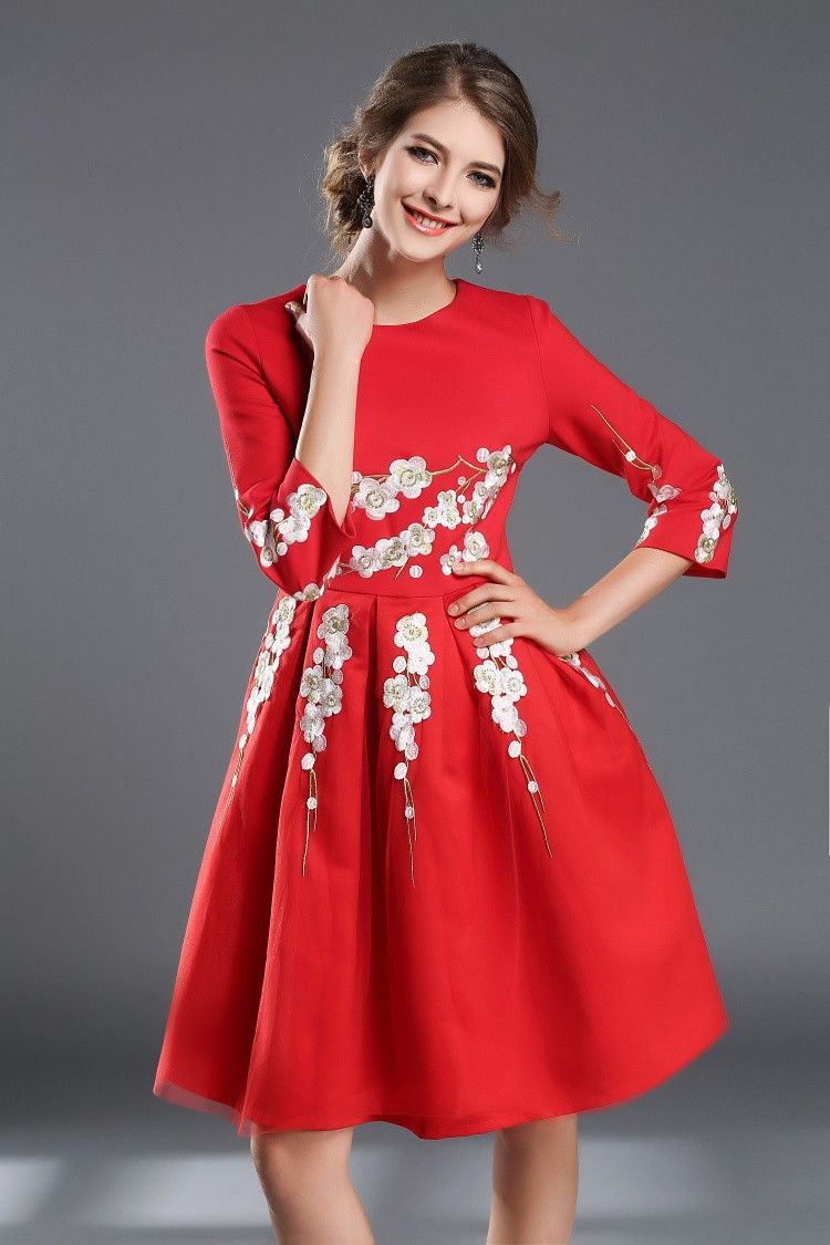 Classy red lace embroidered long sleeve ball gown party