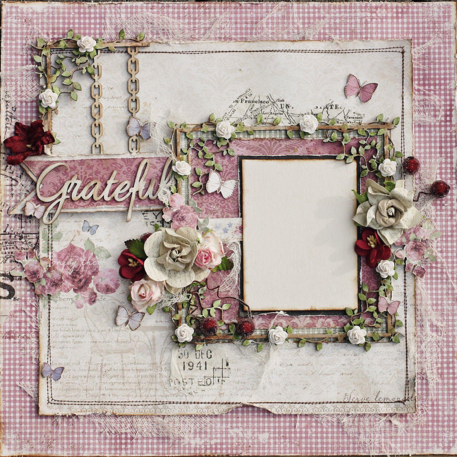 Scrapbook ideas romantic - Grateful Romantic Scrapbook Layout Such A Pretty Mess Blog Scrapbook Diaries Kit Page