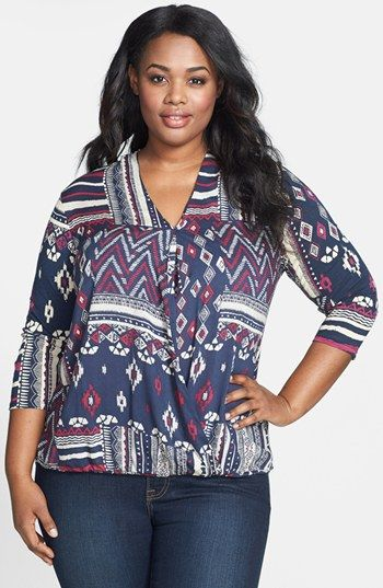 Lucky Brand Patchwork Print Top (Plus Size) available at #Nordstrom