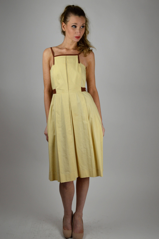 Vintage Dress, 40s Dress, Cotton Dress, Yellow Dress, Day Dress, 40s ...