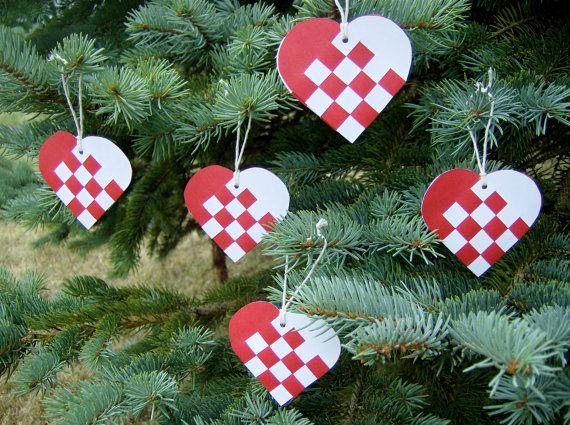 Danish Mini Woven Heart Christmas Ornaments Or Nordic Scandinavian Traditional Paper Julehjerter De Christmas Hearts Heart Christmas Ornaments Danish Christmas