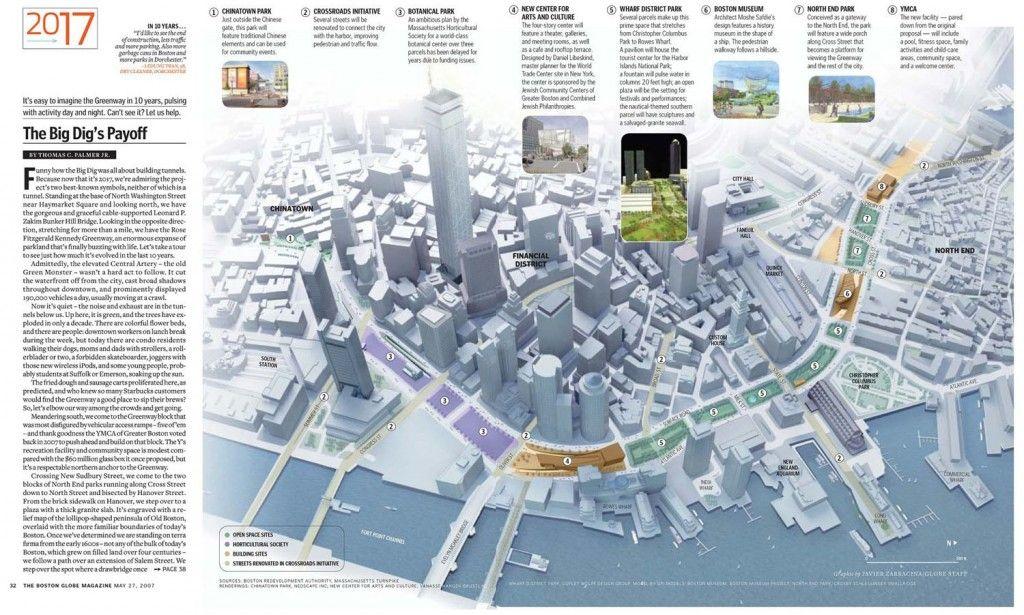 Big dig payoff urban planning development infographics future of the boston greenway javier zarracina for the boston globe magazine sciox Choice Image