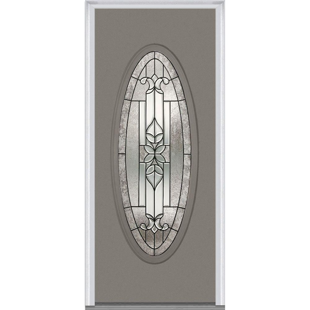 Milliken Millwork 33.5 In. X 81.75 In. Cadence Decorative Glass Full Oval  Painted Fiberglass Smooth Exterior Door