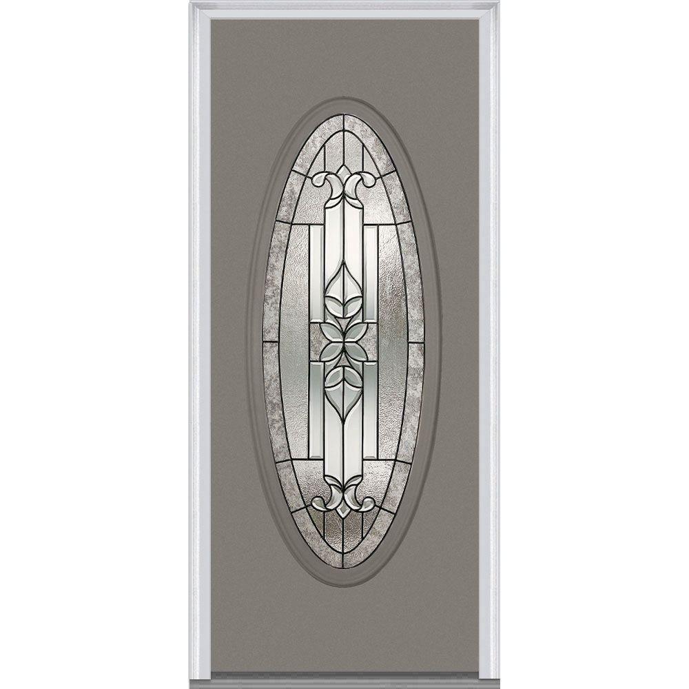Milliken Millwork 32 In X 80 In Cadence Decorative Glass Full Oval