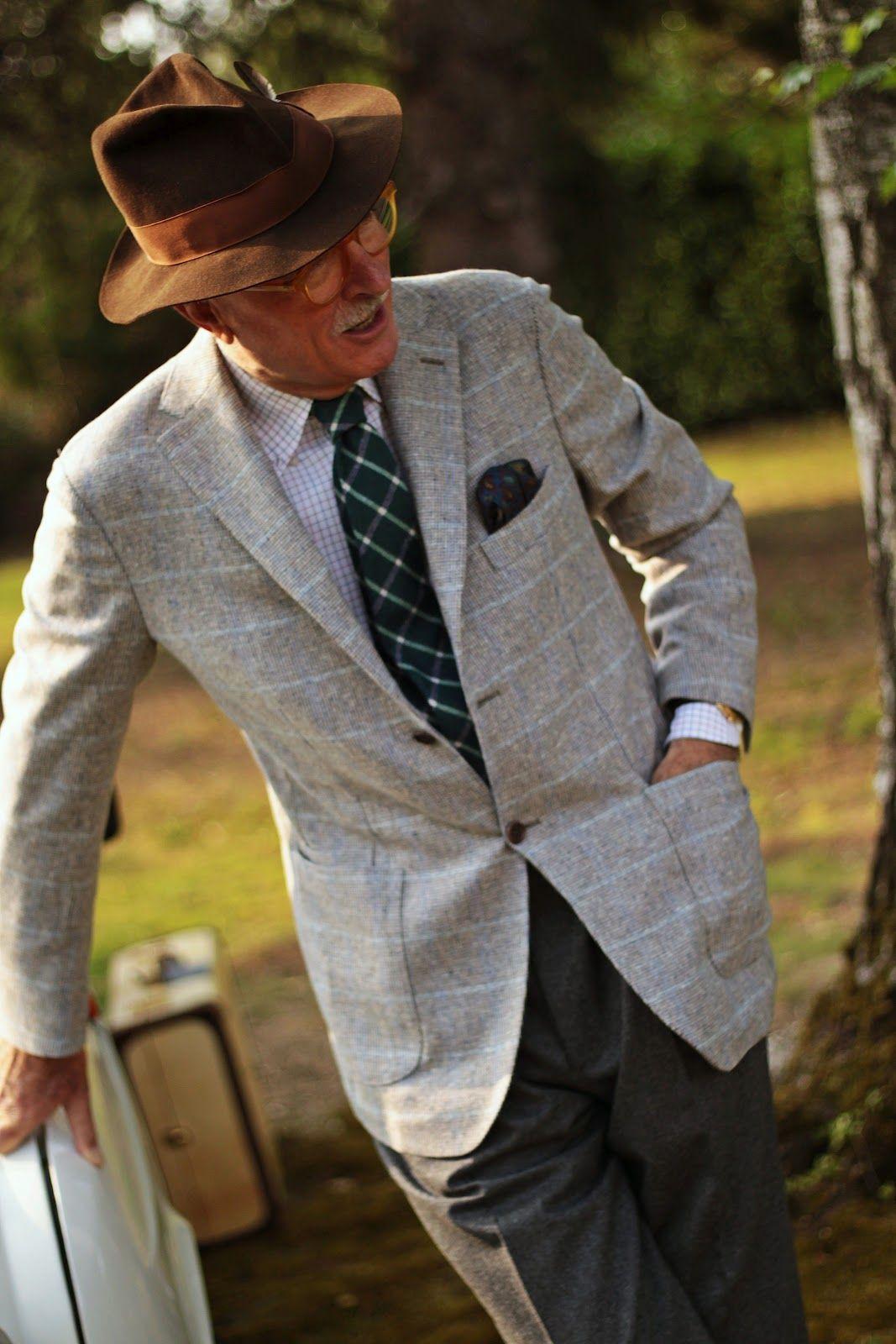 Men's grey flannel trousers  indigo tie dye felt hat  texture vintage menswear  Pinterest