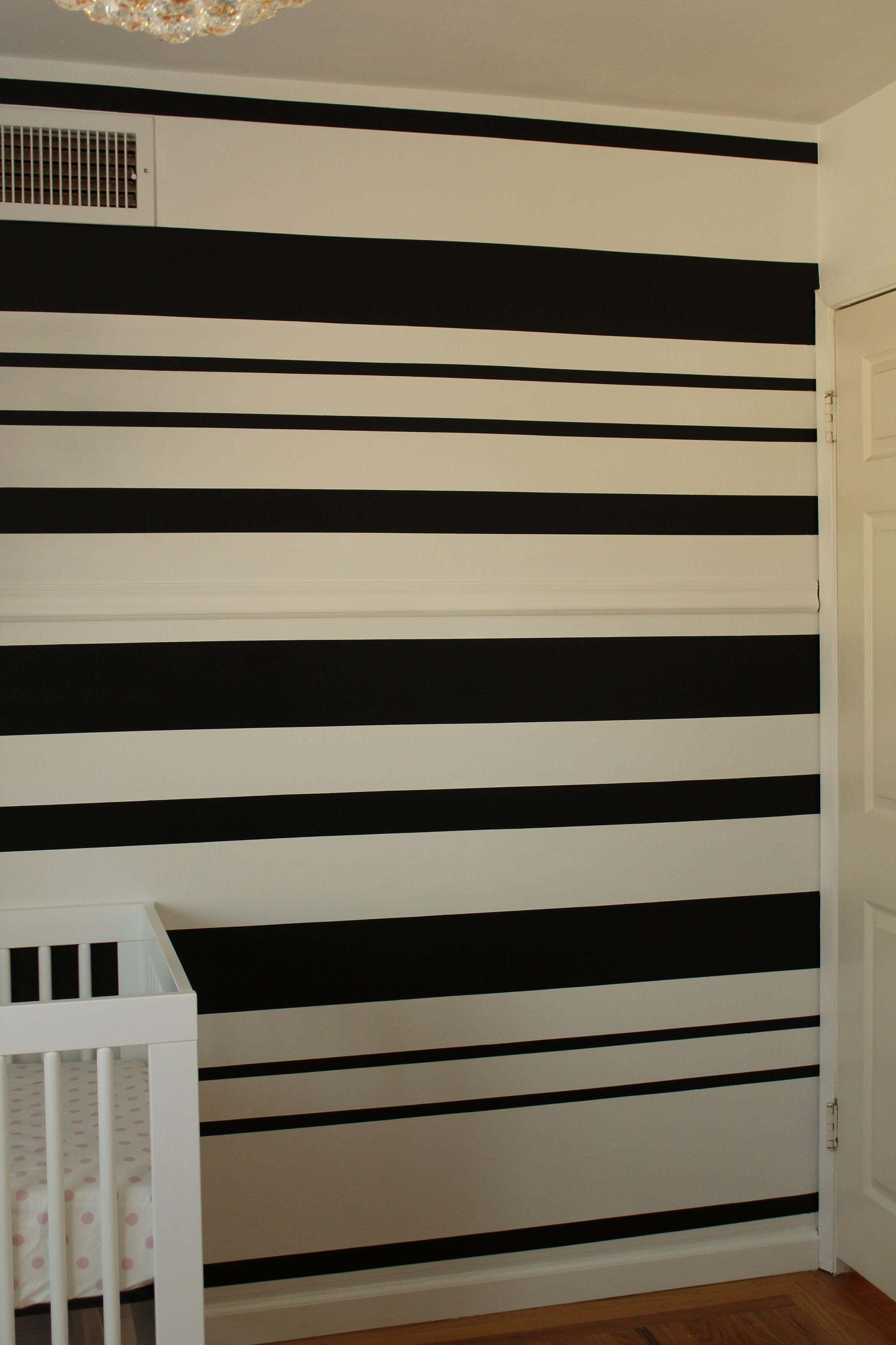 Black White Stripe Wall Easy Tutortial Up On The Blog