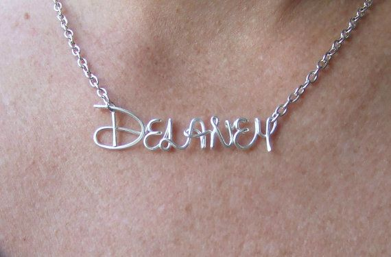 Disney Style Name Necklace, Girls Name Jewelry, Silver Personalized Name, Disney Gifts, Personalized Girl Gifts Jewelry Gifts Under 20