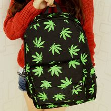 2014 fashion canvas maple leaf printing women backpack college student school book bag leisure backpack(China (Mainland))