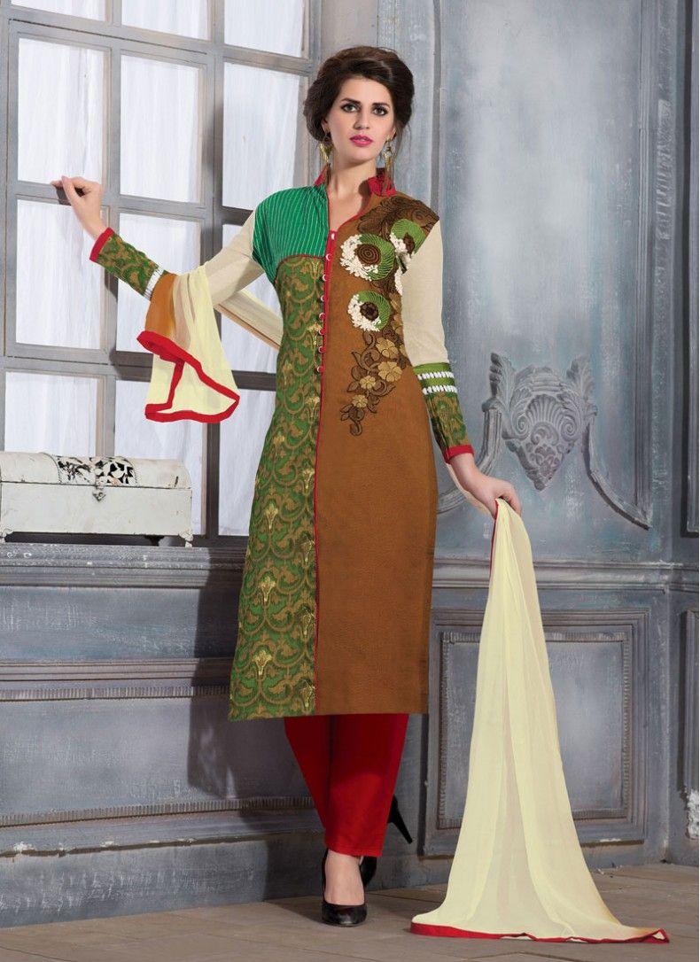Designer salwar kameez mesmeric peach color net designer suit - Phenomenal Brown And Green Net Brasso Designer Straight Salwar Suit