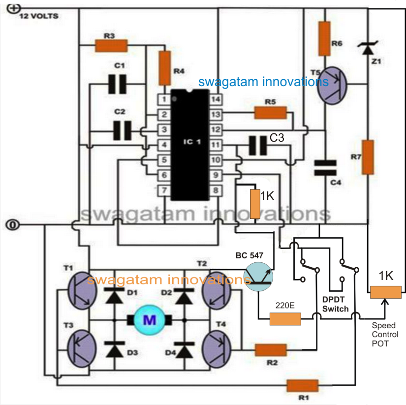 Pwm Motor Speed Controller Circuit Using Ic556 With