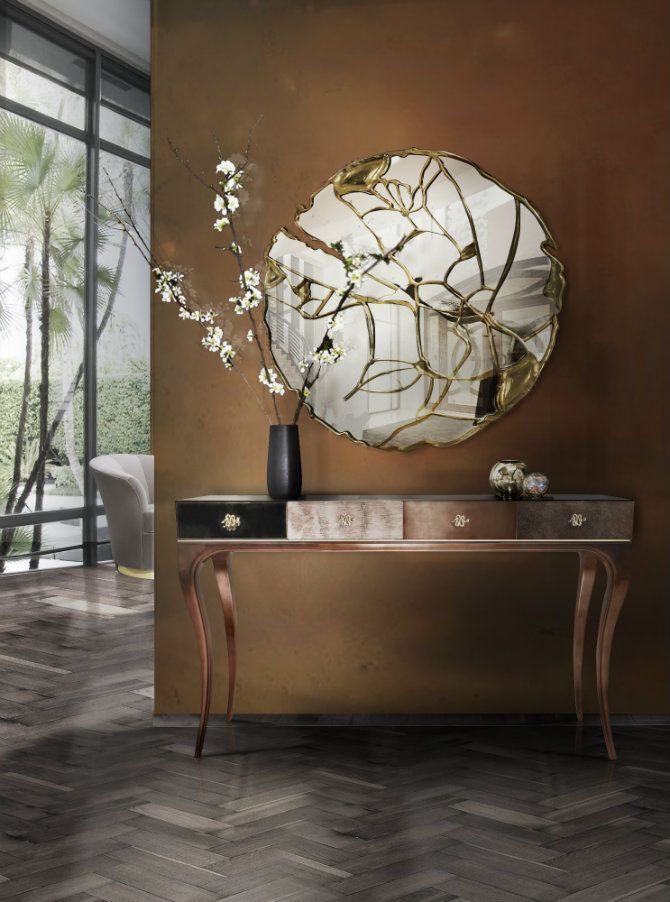 How To Decorate With Round Mirrors Your Living Room ? Contemporary Console  TablesContemporary ...
