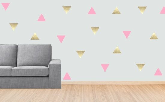 Gold Triangle Wall Decal Triangle Sticker Baby Room Decal Girl - Baby room decals